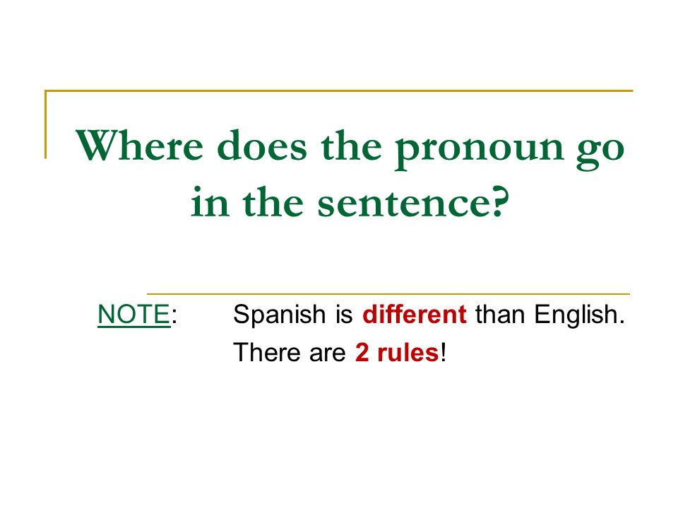 Where does the pronoun go in the sentence? NOTE:Spanish is different than English. There are 2 rules!