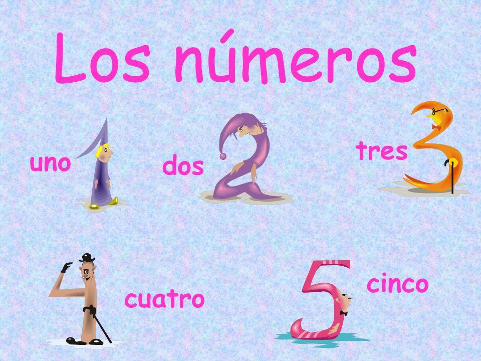 Los números uno dos tres cuatro cinco