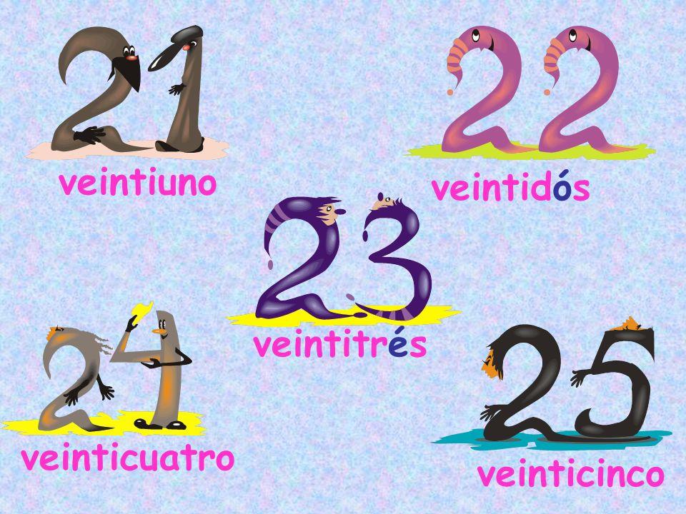 veintiuno veinticuatro veintitrés veinticinco veintidós