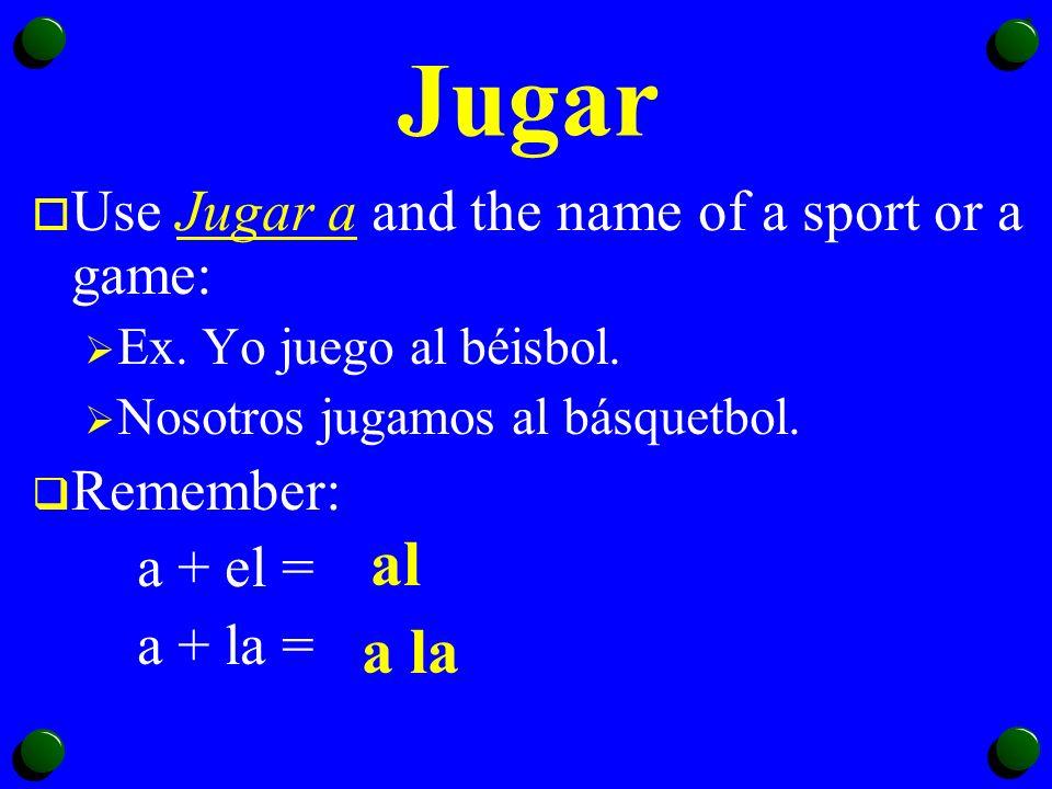 Jugar (To Play) Yojuego Tújuegas Ud. Éljuega Ella Nosotros jugamos Vosotros jugáis Uds.