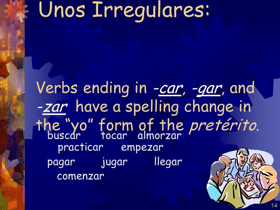 13 (-er / -ir verbs) escribí escribiste escribió escribimos escribisteis escribieron Por ejemplo: escribir Esta tarde, los estudiantes escribieron los ejercicios.