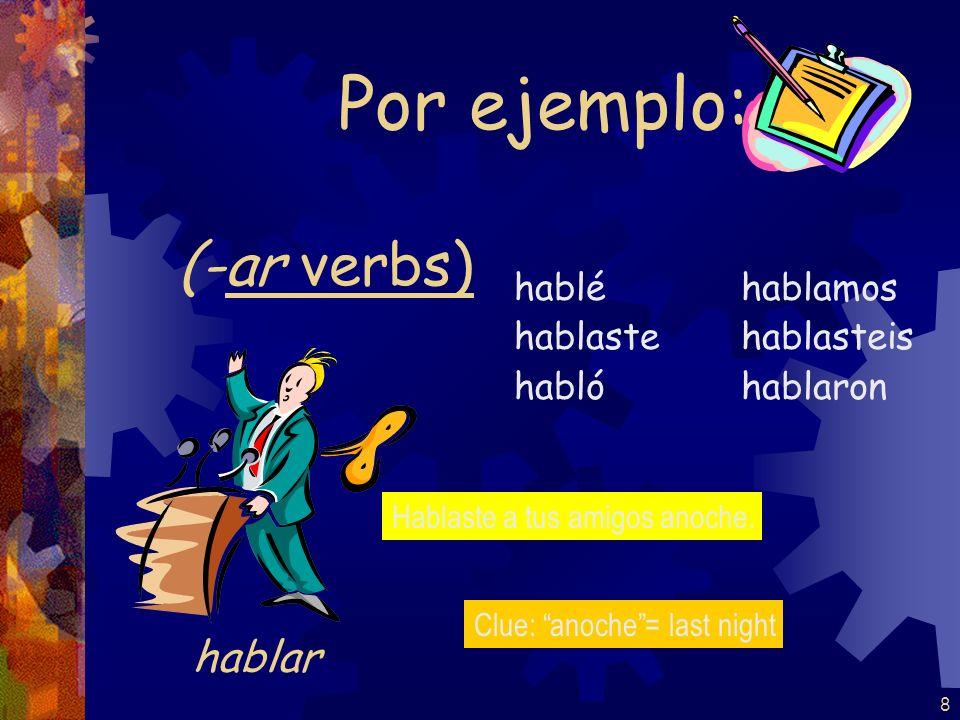 8 (-ar verbs) hablé hablaste habló hablamos hablasteis hablaron Por ejemplo: hablar Hablaste a tus amigos anoche.