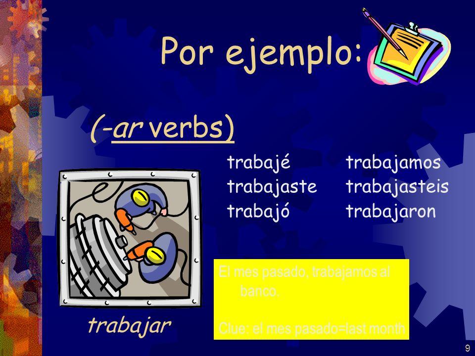 9 (-ar verbs) trabajé trabajaste trabajó trabajamos trabajasteis trabajaron Por ejemplo: trabajar El mes pasado, trabajamos al banco.