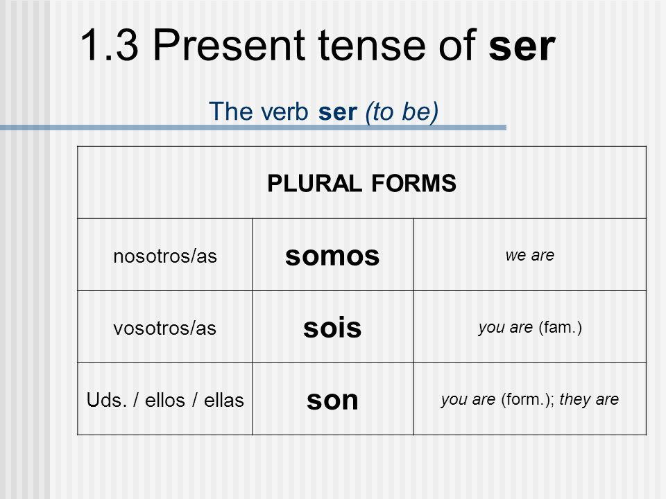 1.3 Present tense of ser The verb ser (to be) PLURAL FORMS nosotros/as somos we are vosotros/as sois you are (fam.) Uds. / ellos / ellas son you are (