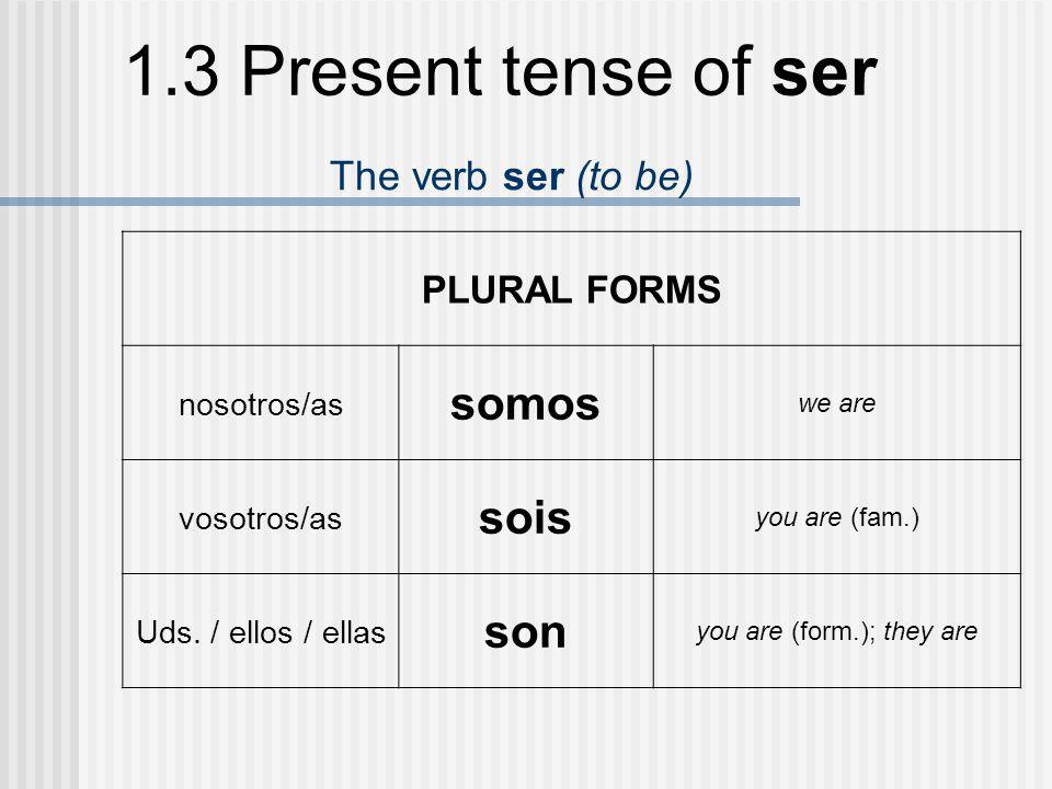 1.3 Present tense of ser Uses of ser To identify people and things ¿Quién es él?¿Qué es.