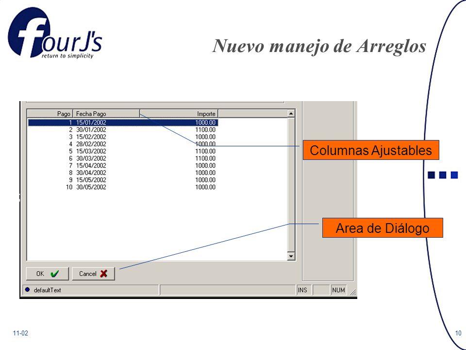11-0210 Nuevo manejo de Arreglos Area de Diálogo Columnas Ajustables