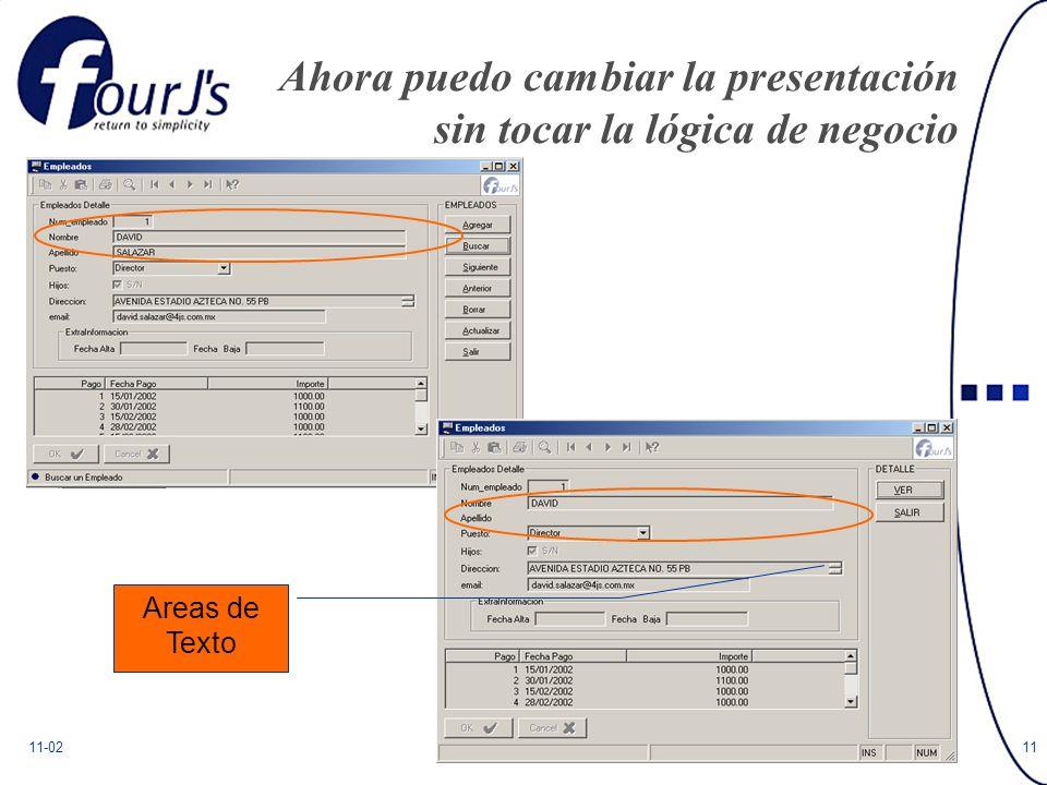 11-0211 Ahora puedo cambiar la presentación sin tocar la lógica de negocio Areas de Texto