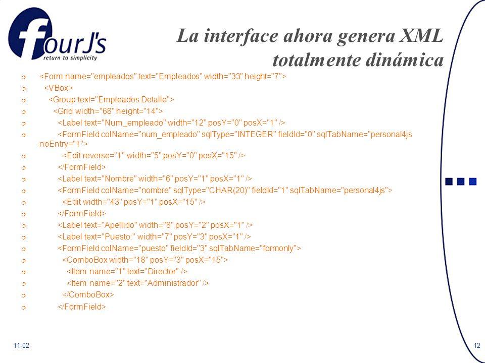11-0212 La interface ahora genera XML totalmente dinámica