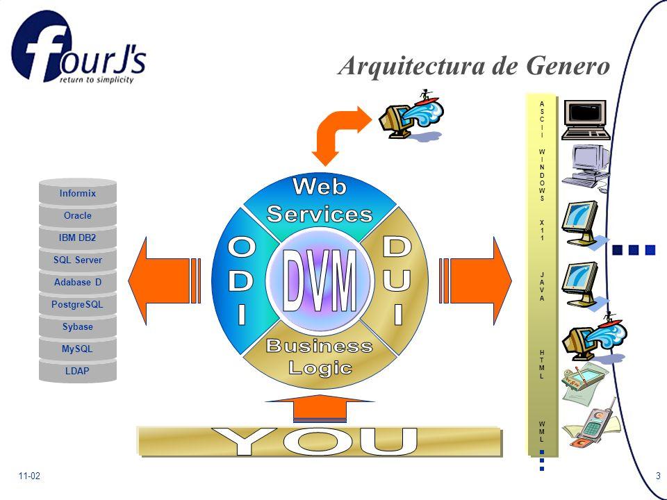11-023 Arquitectura de Genero ASCIIASCII WINDOWSWINDOWS X11X11 JAVAJAVA HTMLHTML WMLWML LDAP MySQL Sybase PostgreSQL Adabase D SQL Server IBM DB2 Oracle Informix