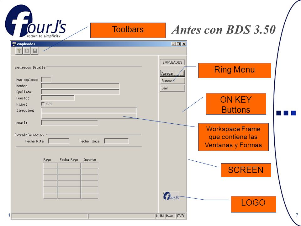 11-027 Antes con BDS 3.50 SCREEN Ring Menu ON KEY Buttons Workspace Frame que contiene las Ventanas y Formas LOGO Toolbars