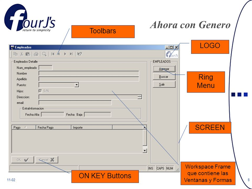 11-028 Ahora con Genero Ring Menu LOGO SCREEN Workspace Frame que contiene las Ventanas y Formas ON KEY Buttons Toolbars