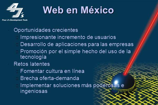 eCommerce en México 0 No Compra Compra 20.5% 79.5% 49.5% 30.0% Planea Comprar No Planea Comprar Fuente: Select-IDC, Usuarios del Web. Septiembre 1999