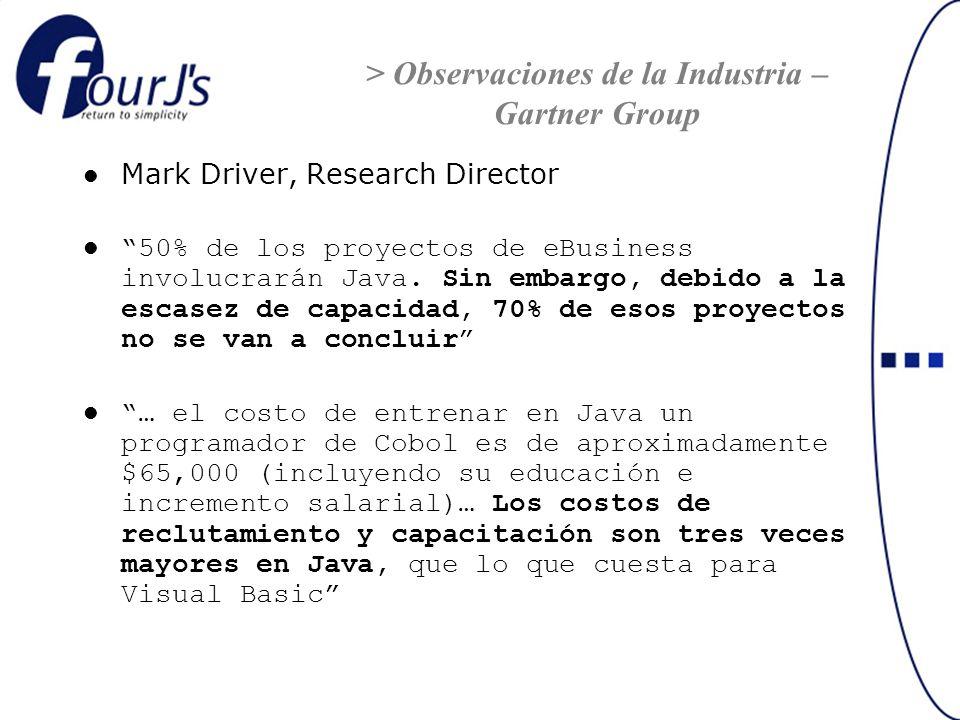 Mark Driver, Research Director 50% de los proyectos de eBusiness involucrarán Java. Sin embargo, debido a la escasez de capacidad, 70% de esos proyect