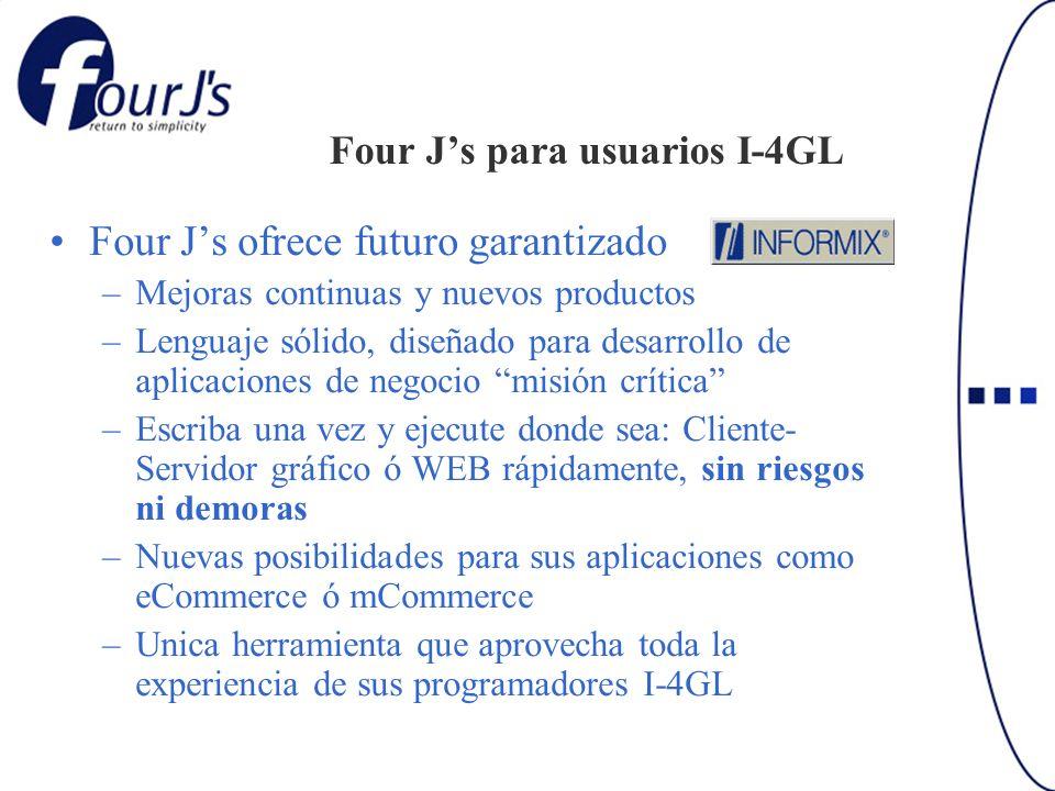 Four Js para usuarios I-4GL Four Js ofrece futuro garantizado –Mejoras continuas y nuevos productos –Lenguaje sólido, diseñado para desarrollo de apli