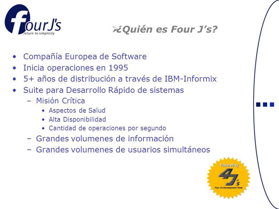 Compañía Europea de Software Inicia operaciones en 1995 5+ años de distribución a través de IBM-Informix Suite para Desarrollo Rápido de sistemas –Misión Crítica Aspectos de Salud Alta Disponibilidad Cantidad de operaciones por segundo –Grandes volumenes de información –Grandes volumenes de usuarios simultáneos ¿Quién es Four Js?