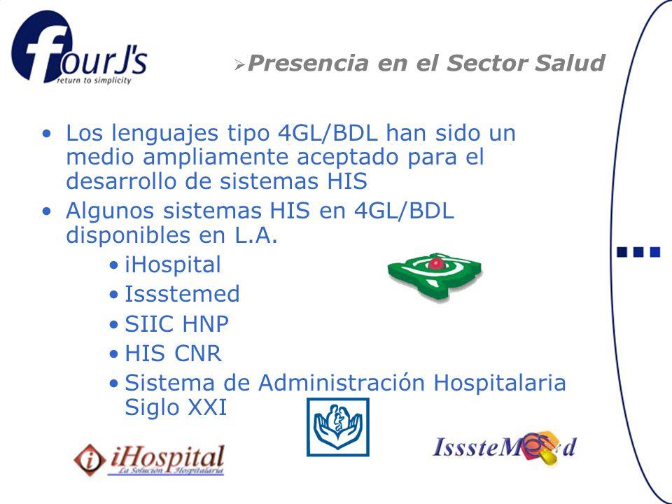 Presencia en el Sector Salud Los lenguajes tipo 4GL/BDL han sido un medio ampliamente aceptado para el desarrollo de sistemas HIS Algunos sistemas HIS en 4GL/BDL disponibles en L.A.
