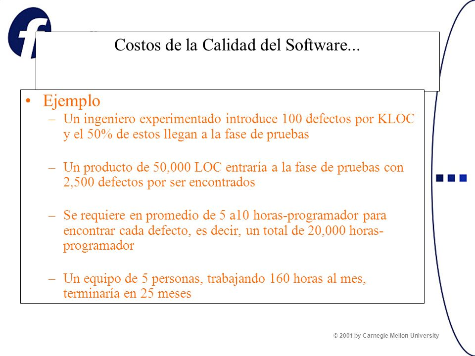 Costos de la Calidad del Software... Ejemplo –Un ingeniero experimentado introduce 100 defectos por KLOC y el 50% de estos llegan a la fase de pruebas