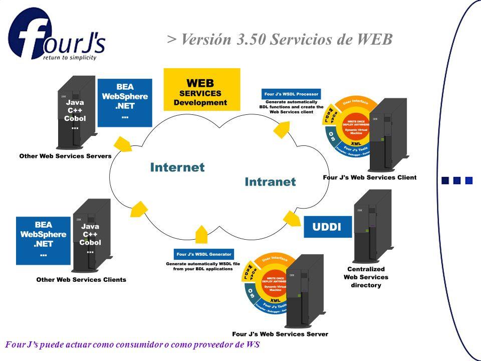 > Versión 3.50 Servicios de WEB Four Js puede actuar como consumidor o como proveedor de WS