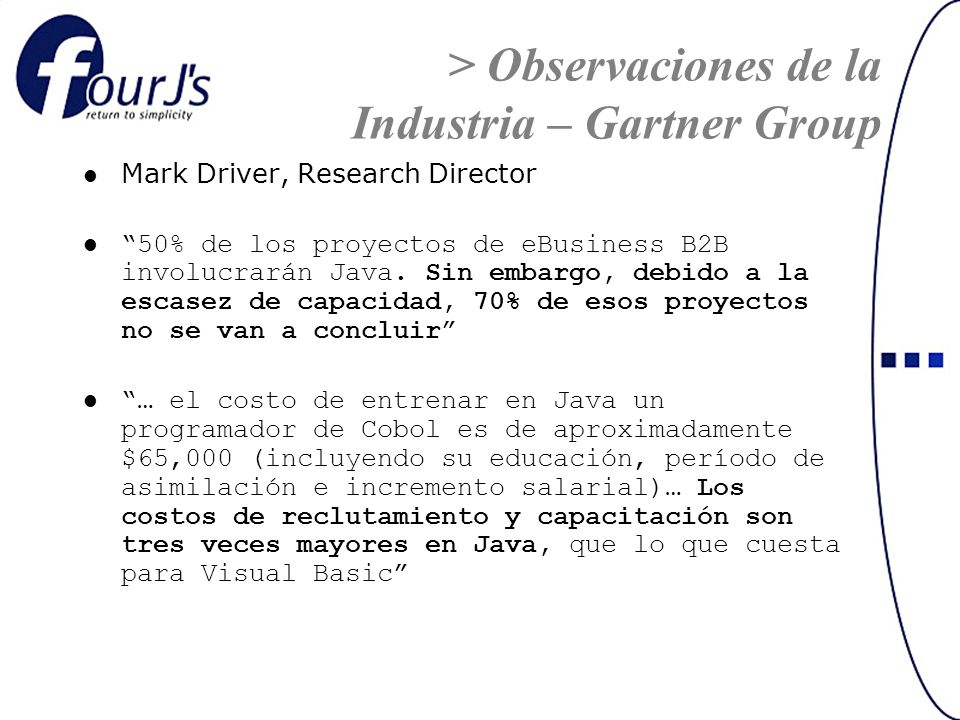 Mark Driver, Research Director 50% de los proyectos de eBusiness B2B involucrarán Java.