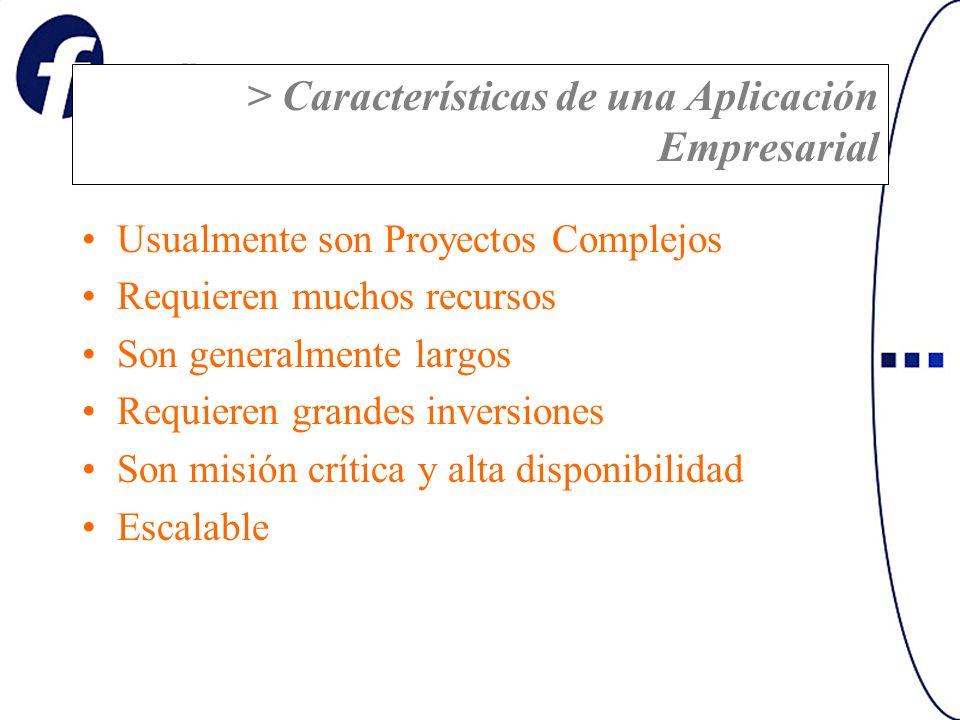 > Características de una Aplicación Empresarial Usualmente son Proyectos Complejos Requieren muchos recursos Son generalmente largos Requieren grandes inversiones Son misión crítica y alta disponibilidad Escalable
