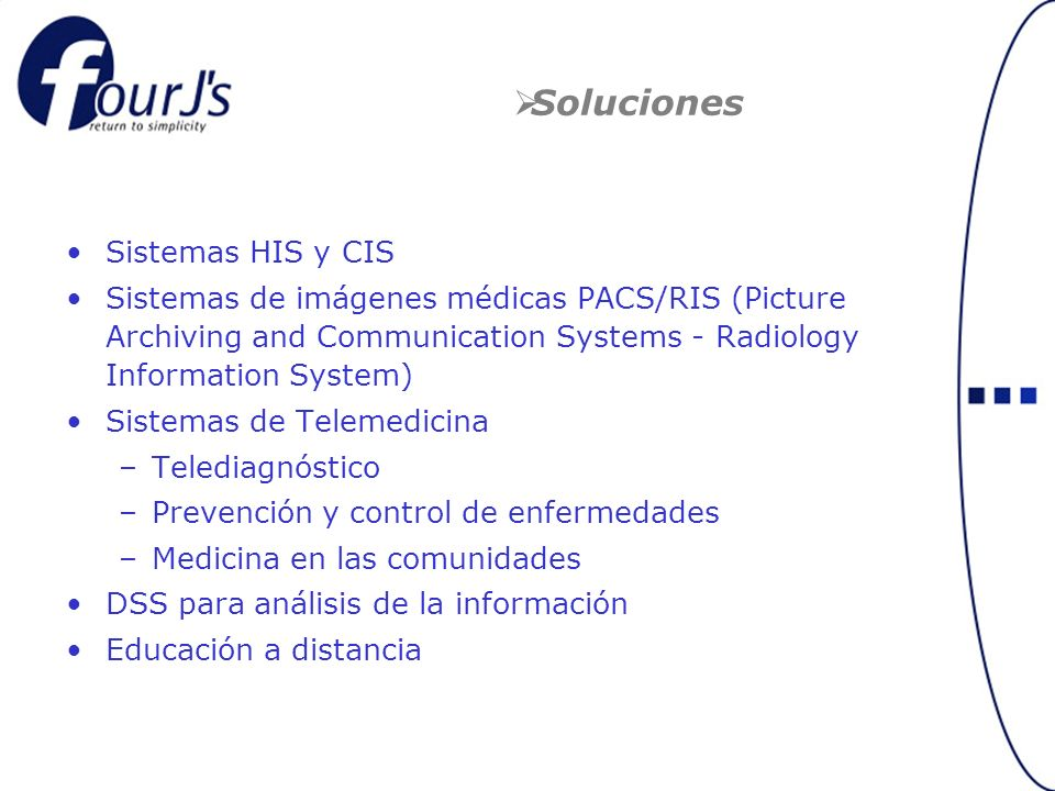 Soluciones Sistemas HIS y CIS Sistemas de imágenes médicas PACS/RIS (Picture Archiving and Communication Systems - Radiology Information System) Siste
