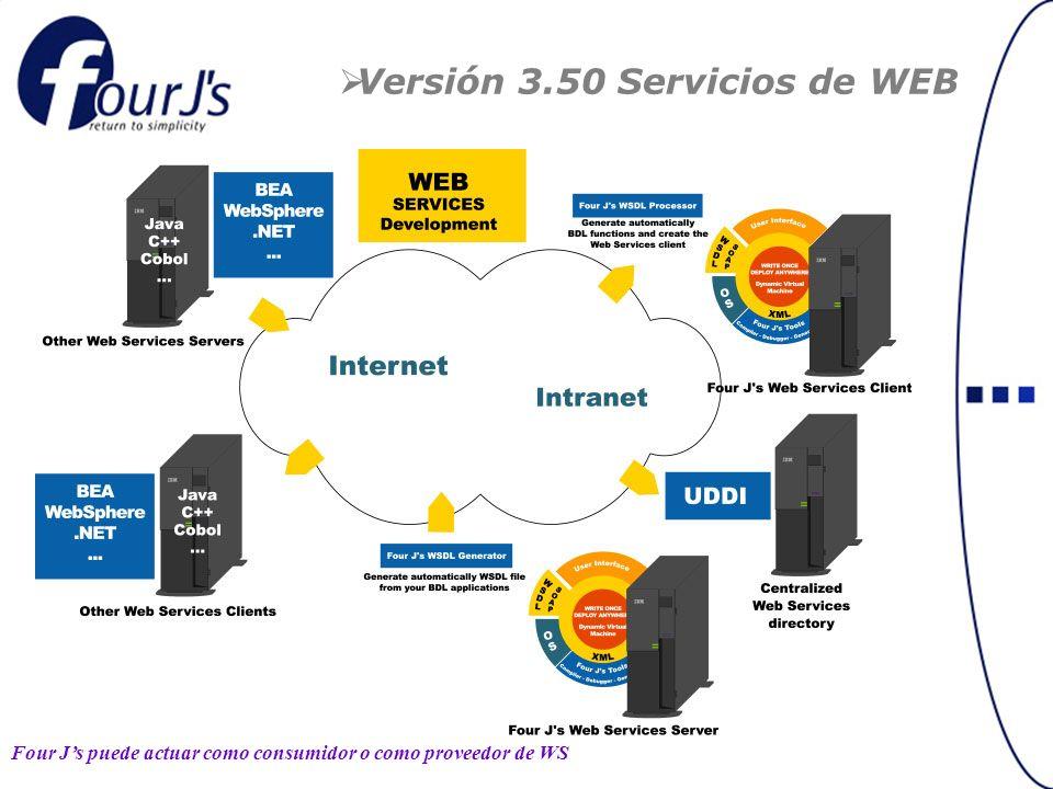 Versión 3.50 Servicios de WEB Four Js puede actuar como consumidor o como proveedor de WS