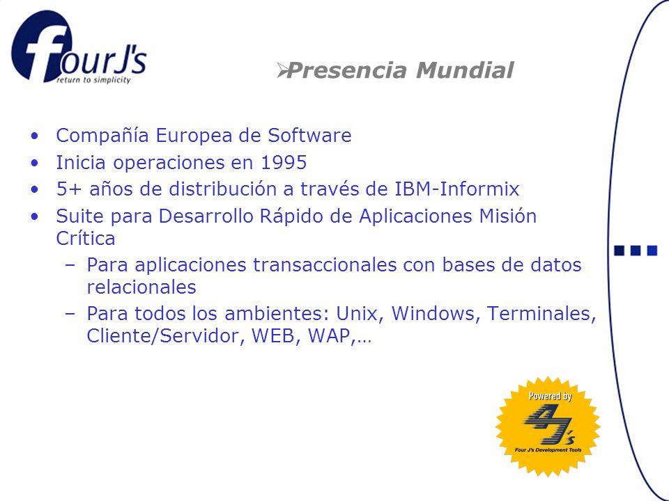 Compañía Europea de Software Inicia operaciones en 1995 5+ años de distribución a través de IBM-Informix Suite para Desarrollo Rápido de Aplicaciones Misión Crítica –Para aplicaciones transaccionales con bases de datos relacionales –Para todos los ambientes: Unix, Windows, Terminales, Cliente/Servidor, WEB, WAP,… Presencia Mundial