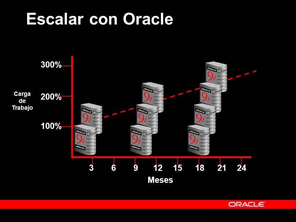 Escalar con Oracle 3691215182124 Meses 100% 200% 300% Carga de Trabajo