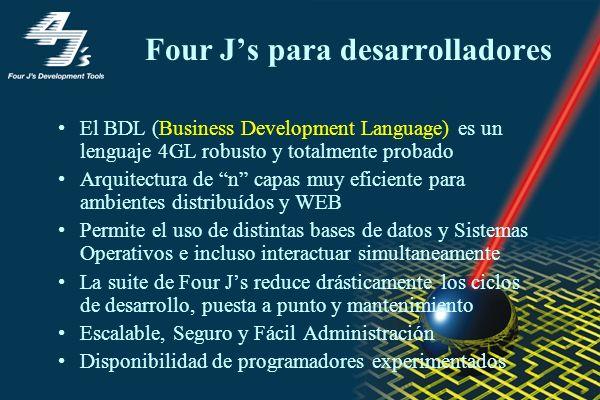 Four Js para desarrolladores El BDL (Business Development Language) es un lenguaje 4GL robusto y totalmente probado Arquitectura de n capas muy eficie