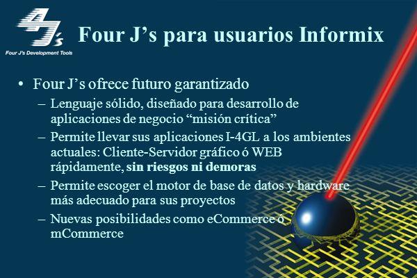 Four Js para usuarios Informix Four Js ofrece futuro garantizado –Lenguaje sólido, diseñado para desarrollo de aplicaciones de negocio misión crítica