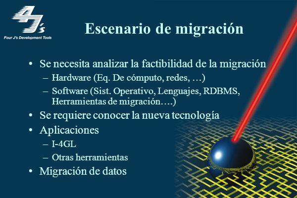 Escenario de migración Se necesita analizar la factibilidad de la migración –Hardware (Eq. De cómputo, redes, …) –Software (Sist. Operativo, Lenguajes
