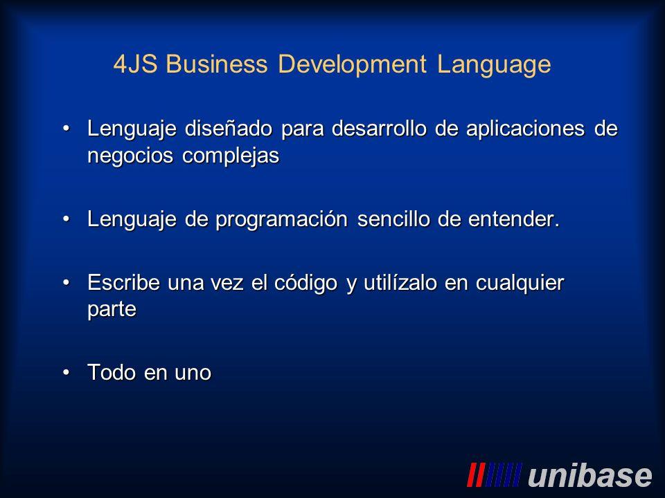 4JS Business Development Language Lenguaje diseñado para desarrollo de aplicaciones de negocios complejasLenguaje diseñado para desarrollo de aplicaci