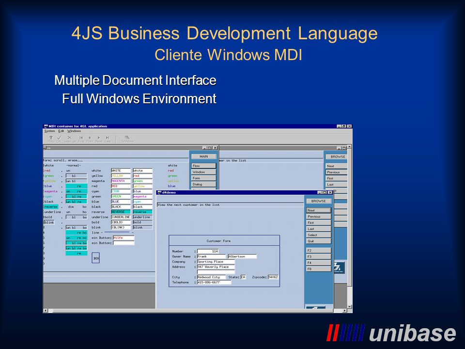 Cliente Windows MDI Multiple Document Interface Full Windows Environment 4JS Business Development Language