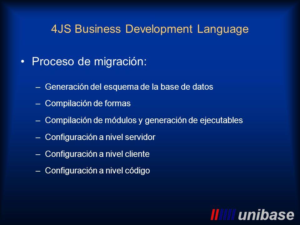 Proceso de migración: –Generación del esquema de la base de datos –Compilación de formas –Compilación de módulos y generación de ejecutables –Configur