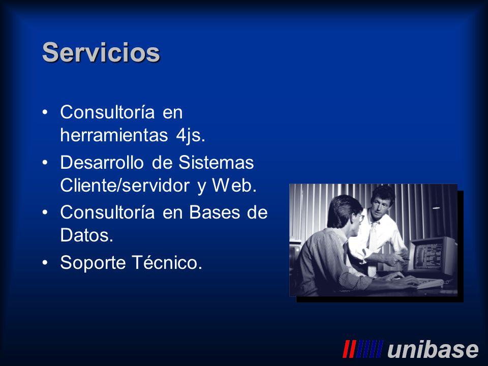 Servicios Consultoría en herramientas 4js. Desarrollo de Sistemas Cliente/servidor y Web. Consultoría en Bases de Datos. Soporte Técnico.