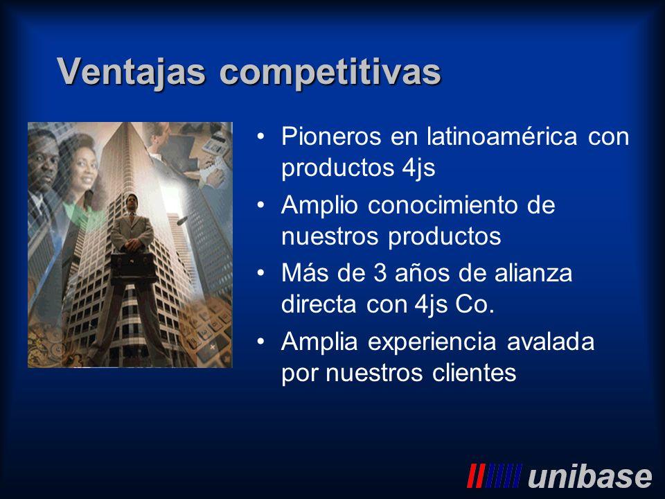 Ventajas competitivas Pioneros en latinoamérica con productos 4js Amplio conocimiento de nuestros productos Más de 3 años de alianza directa con 4js C