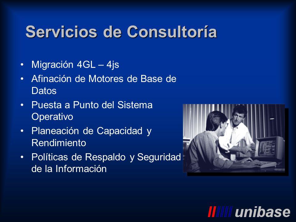 Servicios de Consultoría Migración 4GL – 4js Afinación de Motores de Base de Datos Puesta a Punto del Sistema Operativo Planeación de Capacidad y Rend