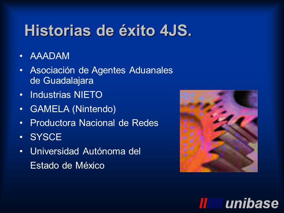 Historias de éxito 4JS. AAADAM Asociación de Agentes Aduanales de Guadalajara Industrias NIETO GAMELA (Nintendo) Productora Nacional de Redes SYSCE Un