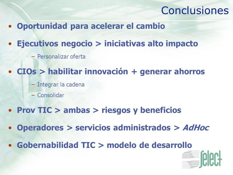 Conclusiones Oportunidad para acelerar el cambio Ejecutivos negocio > iniciativas alto impacto –Personalizar oferta CIOs > habilitar innovación + gene