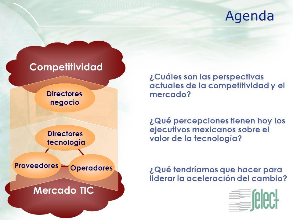 Mercado TIC Competitividad ¿Cuáles son las perspectivas actuales de la competitividad y el mercado? Agenda Directores negocio ¿Qué percepciones tienen