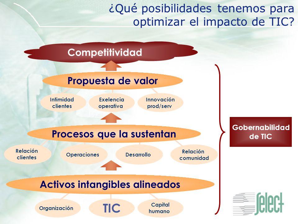 Competitividad ¿Qué posibilidades tenemos para optimizar el impacto de TIC? Gobernabilidad de TIC OperacionesDesarrollo Procesos que la sustentan Rela