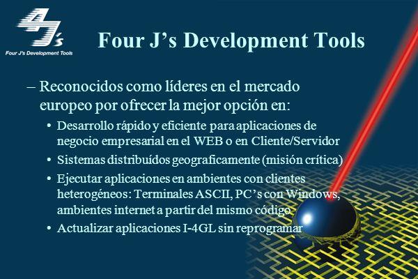 Four Js Development Tools –Reconocidos como líderes en el mercado europeo por ofrecer la mejor opción en: Desarrollo rápido y eficiente para aplicaciones de negocio empresarial en el WEB o en Cliente/Servidor Sistemas distribuídos geograficamente (misión crítica) Ejecutar aplicaciones en ambientes con clientes heterogéneos: Terminales ASCII, PCs con Windows, ambientes internet a partir del mismo código Actualizar aplicaciones I-4GL sin reprogramar