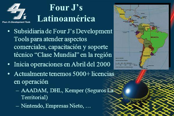 Four Js Latinoamérica Subsidiaria de Four Js Development Tools para atender aspectos comerciales, capacitación y soporte técnico Clase Mundial en la región Inicia operaciones en Abril del 2000 Actualmente tenemos 5000+ licencias en operación –AAADAM, DHL, Kemper (Seguros La Territorial) –Nintendo, Empresas Nieto, …