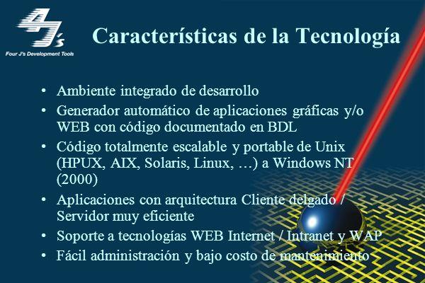 Características de la Tecnología Ambiente integrado de desarrollo Generador automático de aplicaciones gráficas y/o WEB con código documentado en BDL