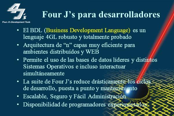 Four Js para desarrolladores El BDL (Business Development Language) es un lenguaje 4GL robusto y totalmente probado Arquitectura de n capas muy eficiente para ambientes distribuídos y WEB Permite el uso de las bases de datos líderes y distintos Sistemas Operativos e incluso interactuar simultáneamente La suite de Four Js reduce drásticamente los ciclos de desarrollo, puesta a punto y mantenimiento Escalable, Seguro y Fácil Administración Disponibilidad de programadores experimentados