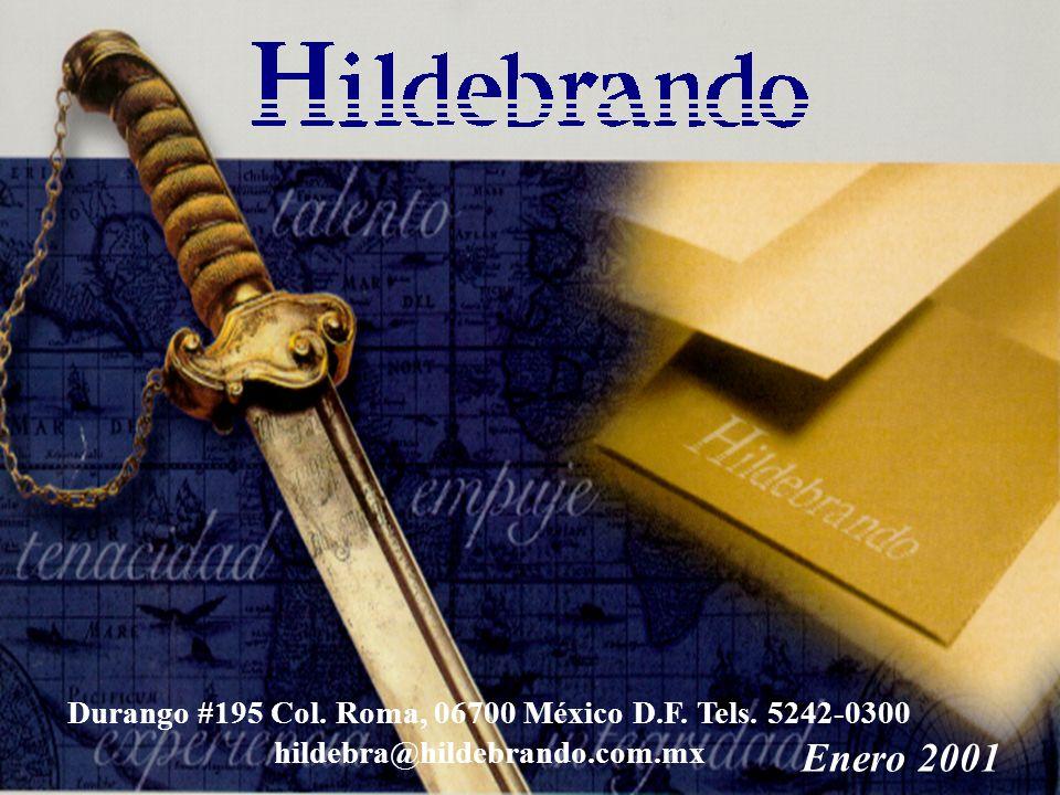 Enero 2001 Durango #195 Col. Roma, 06700 México D.F. Tels. 5242-0300 hildebra@hildebrando.com.mx