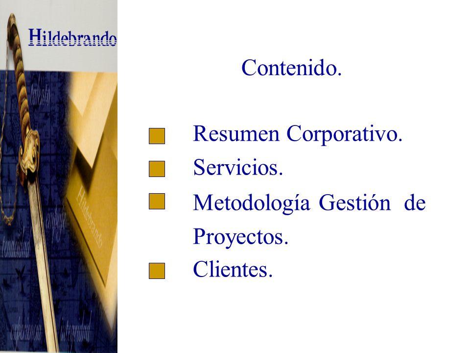 Contenido. Resumen Corporativo. Servicios. Metodología Gestión de Proyectos. Clientes.