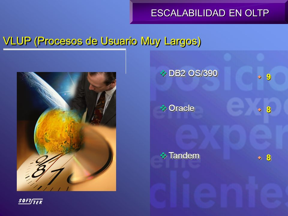 VLUP (Procesos de Usuario Muy Largos) DB2 OS/390 DB2 OS/390 Oracle Oracle Tandem Tandem DB2 OS/390 DB2 OS/390 Oracle Oracle Tandem Tandem ESCALABILIDA