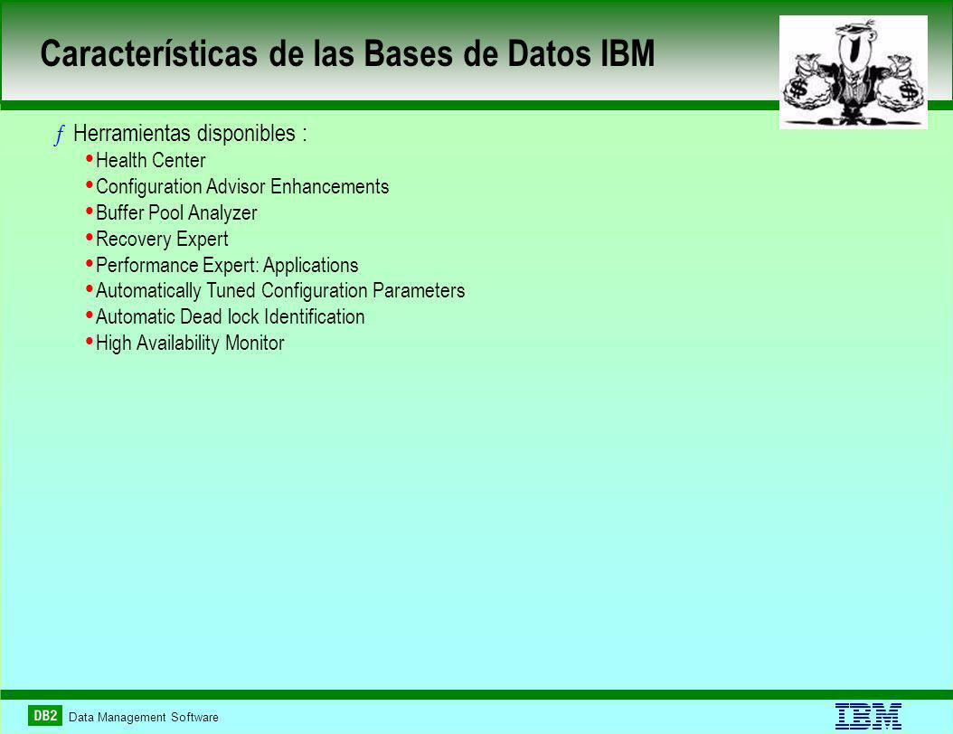 Data Management Software Características de las Bases de Datos IBM ƒHerramientas disponibles : Health Center Configuration Advisor Enhancements Buffer Pool Analyzer Recovery Expert Performance Expert: Applications Automatically Tuned Configuration Parameters Automatic Dead lock Identification High Availability Monitor