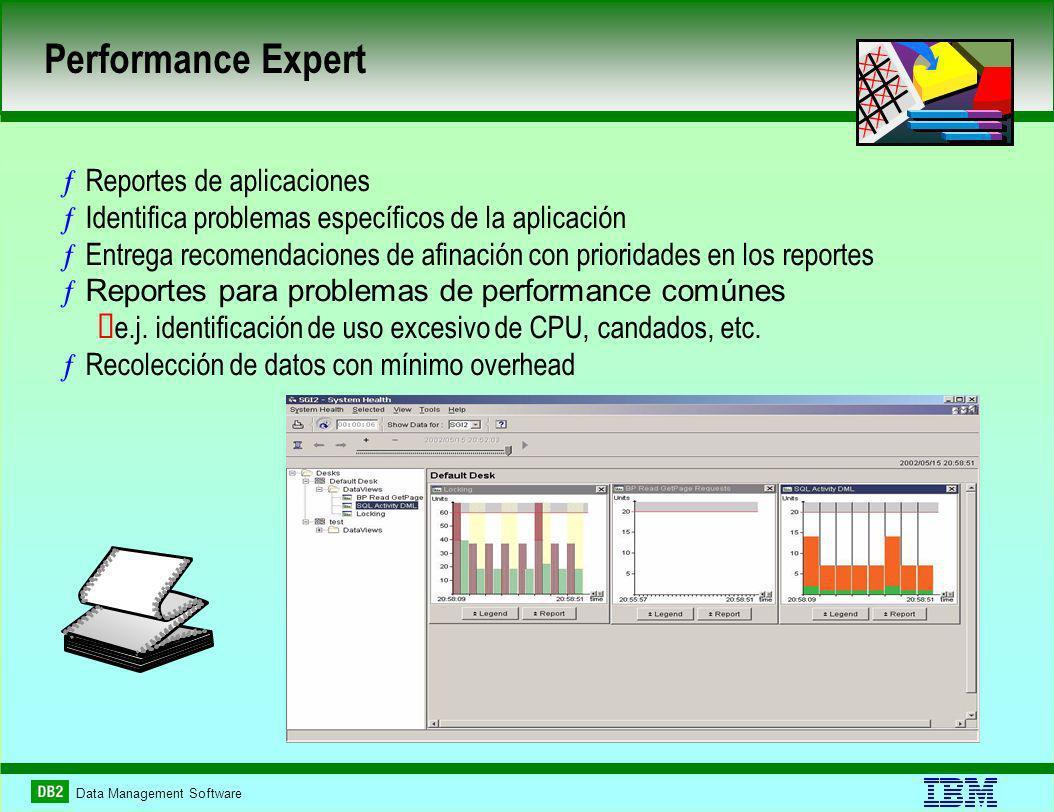 Data Management Software ƒReportes de aplicaciones ƒIdentifica problemas específicos de la aplicación ƒEntrega recomendaciones de afinación con prioridades en los reportes ƒReportes para problemas de performance comúnes e.j.